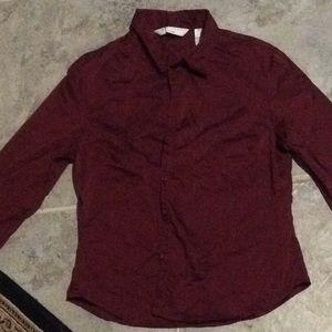 Metallic maroon button up shirt